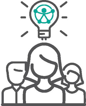 Pictograma de figura femenina y sobre su cabeza un bombillo, en su centro el símbolo de Accesibilidad Universal.