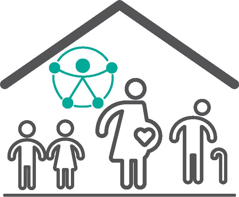 Cuatro figuras de personas debajo de una línea en forma de techo y símbolo de accesibilidad